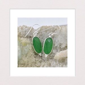Jewelry - Genuine Green Onyx and Sterling Silver Earrings